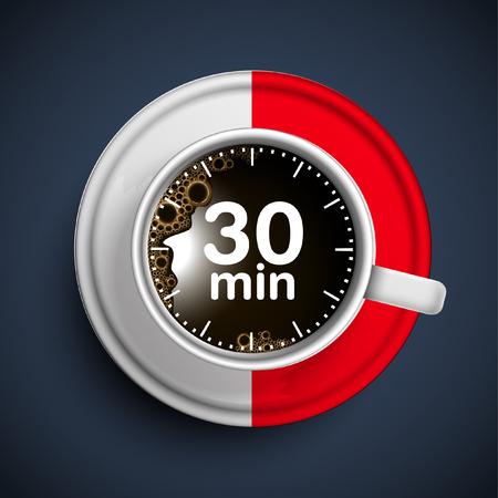 30 minutes coffee break, vector Illustration