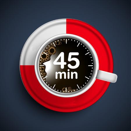 45 minutes coffee break, vector