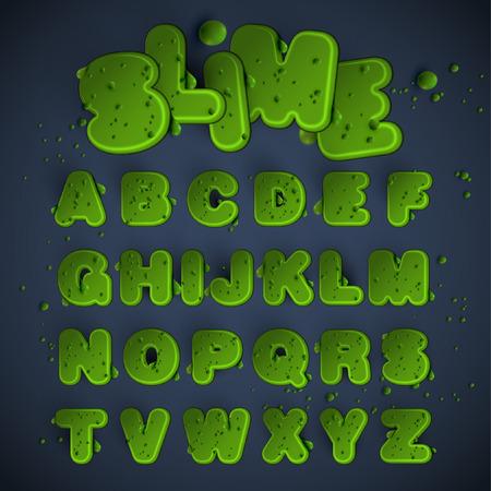Green slime font set, vector 矢量图像