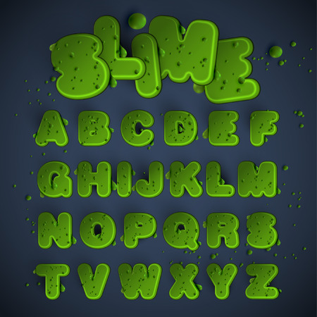 Green slime font set, vector Illustration