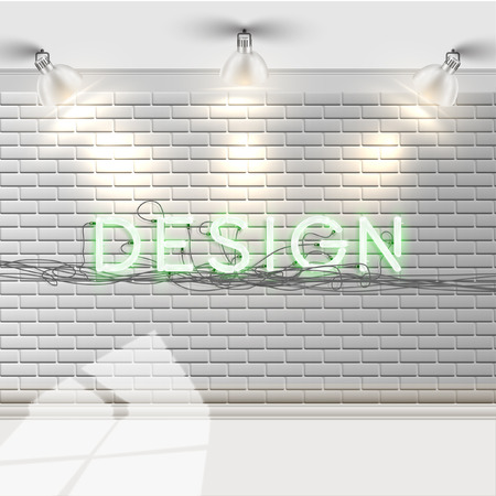 p buildings: Green neon font on a white brick wall, vector