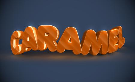 Caramel typograpy 3D, vector