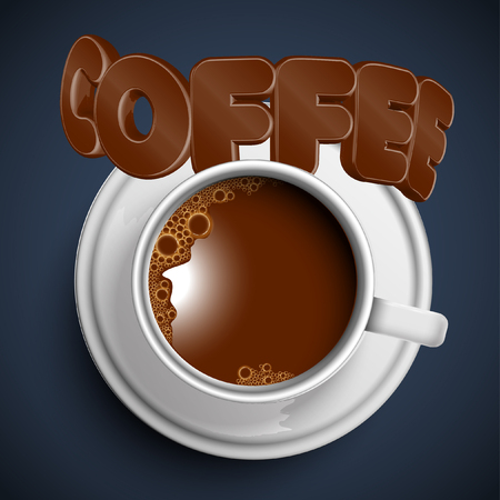 chocolate swirl: Coffee cup with a 3D typography, vector Illustration