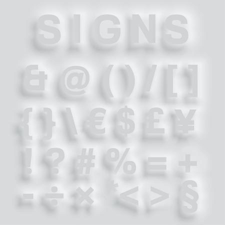 typefaces: Gray bulging typefaces, vector