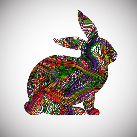 Colorful rabbit made by lines, vector