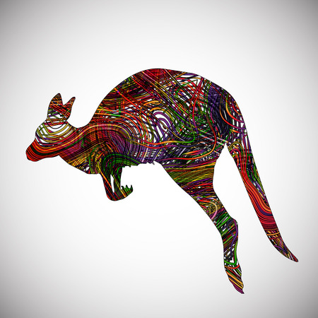 Colorful lines made by kangaroo, vector Illustration