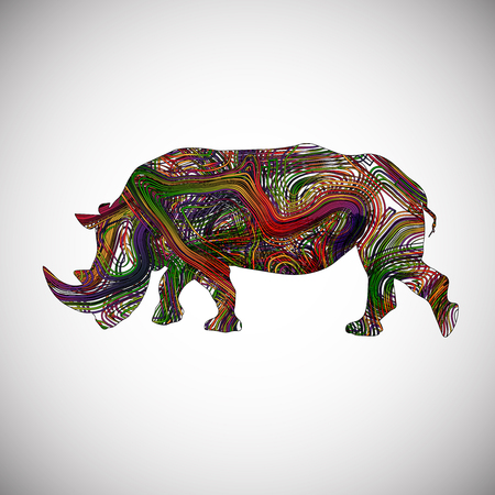 abstract art background: Colorful rhinoceros, vector Illustration