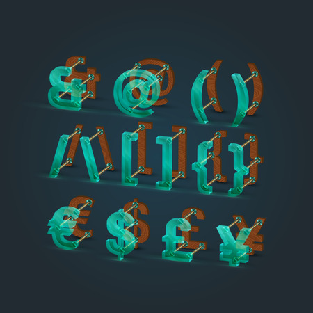 typefaces: Glass and wood typefaces, vector illustration
