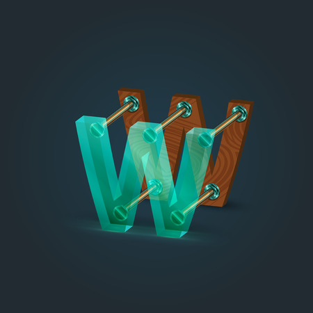 typefaces: Glass and wood character from the typefaces, vector illustration