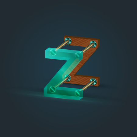 Glass and wood character from the typefaces, vector illustration