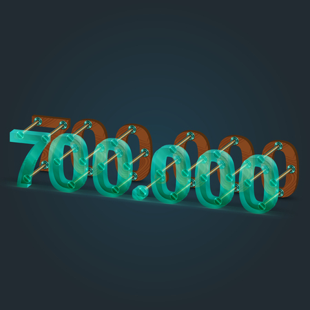 typefaces: Glass and wood from number of typefaces, vector illustration