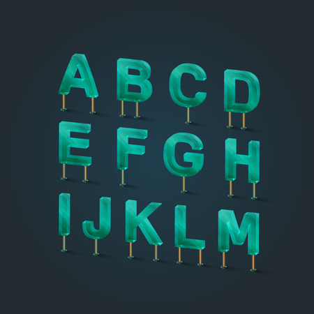typefaces: Glass typefaces, vector illustration
