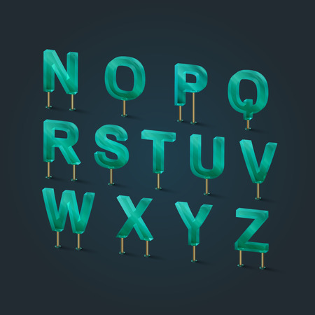 Glass typefaces, vector illustration