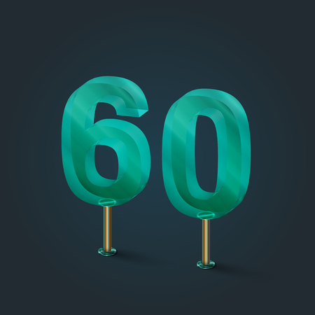 Glass from a number typefaces, vector illustration