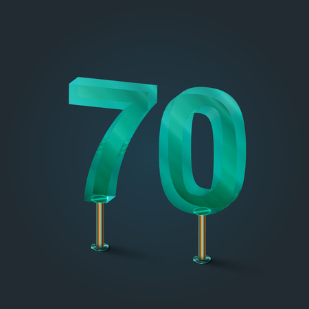 typefaces: Glass from a number typefaces, vector illustration