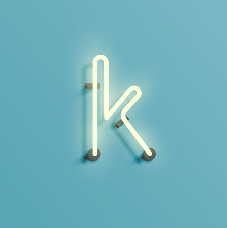 Realistic character from the neon typeset, vector