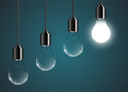 Creative lightbulb illustration on a blue background, vector