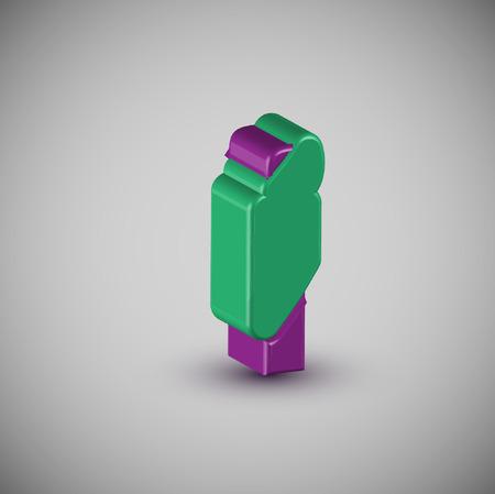 fluorescent tubes: 3D colorful font, vector