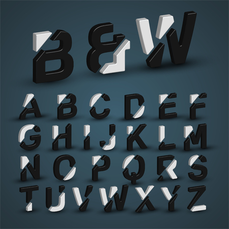 3d balck & white characters from the typeset, vector Illustration