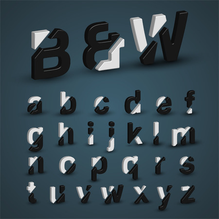 balck and white: 3d balck & white characters from the typeset, vector Illustration