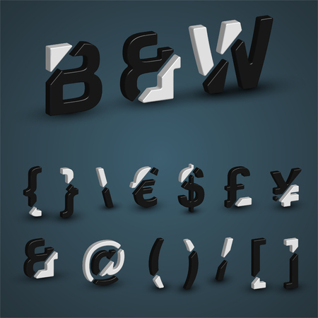 typeset: 3d balck & white characters from the typeset, vector Illustration
