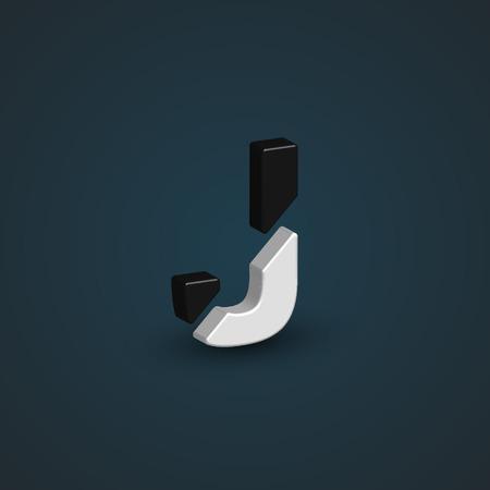 balck: Balck & white 3d character from the typeset, vector