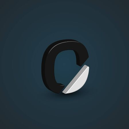 Balck & white 3d character from the typeset, vector
