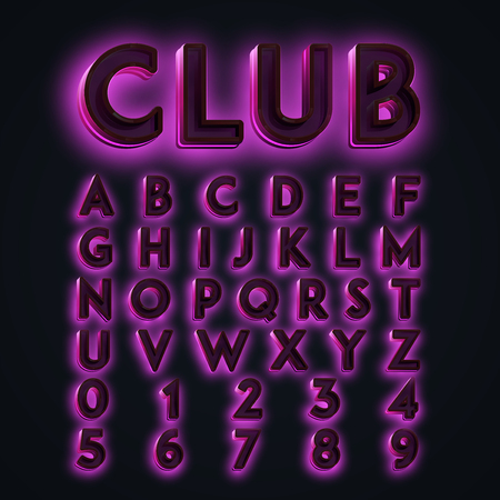 neon lights: Colorful CLUB neon lights typeset, vector Illustration
