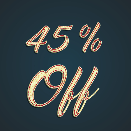 Discount sale label made by leather, vector illustration