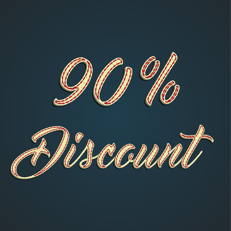 percentage: Discount sale label made by leather, vector illustration