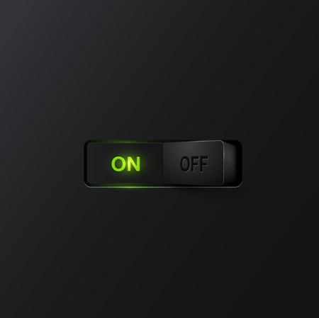 backlight: Realistic black with backlight switches ON, vector Illustration