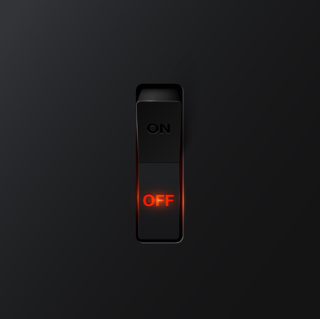 Realistic black with backlight OFF switches, vector
