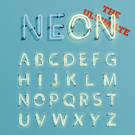 Realistic character neon, vector
