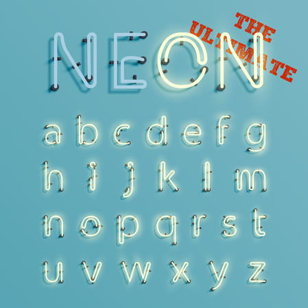 Neon realistic 3D character set, vector Ilustracja