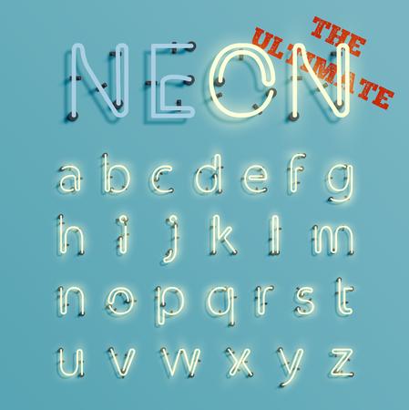 Neon realistic 3D character set, vector Illustration