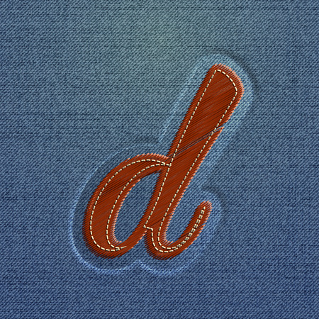 typefaces: Character made by denim, from the typefaces, vector