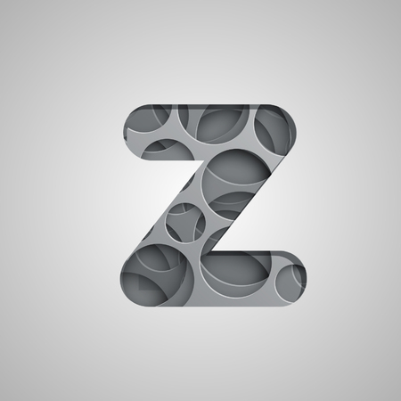 Layered character from the typeset, vector