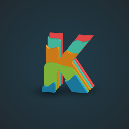 papercut: Colorful papercut layered font from the Typeface, Vector