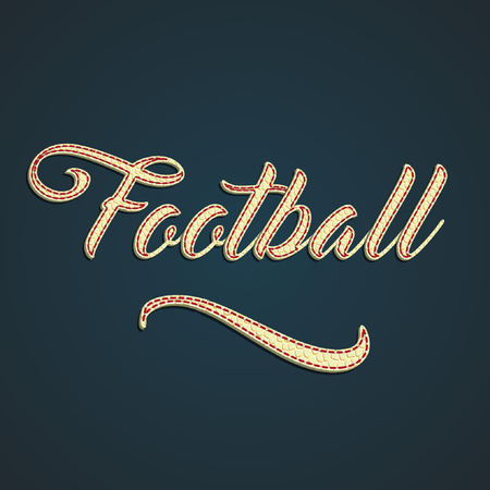 Footbal label made by leather label, vector illustration