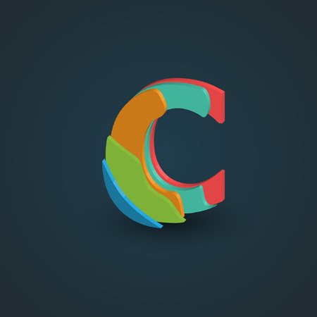 hebrew alphabet: Colorful papercut layered font from the Typeface, Vector