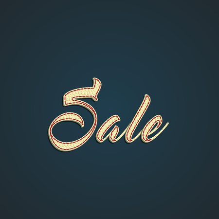 Sale made by leather label, vector illustration