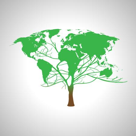 recycling symbol: Globe world map on a tree