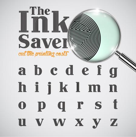 saver: Elegant ink saver character set - less ink while printing, vector