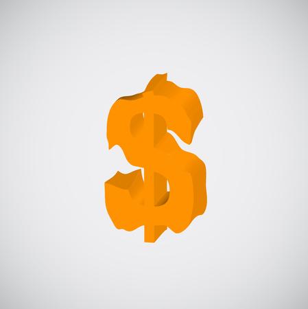 melting: Melting character from orange to typeset, vector Illustration