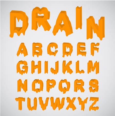 melting: Melting orange character set, vector