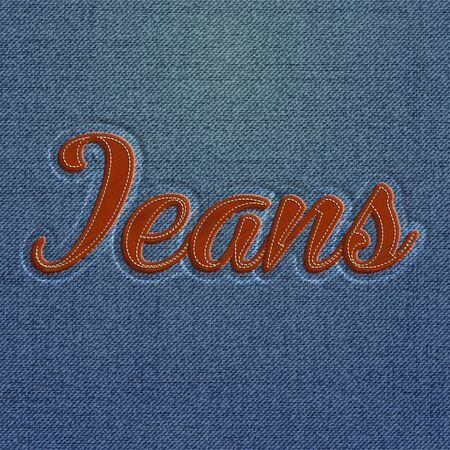 embroidered: Embroidered Realistic Jeans word, vector Illustration