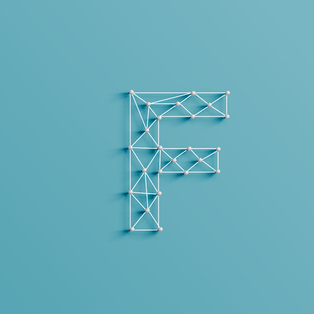 serif: The character made by pins and lines forming net, and realistic 3D