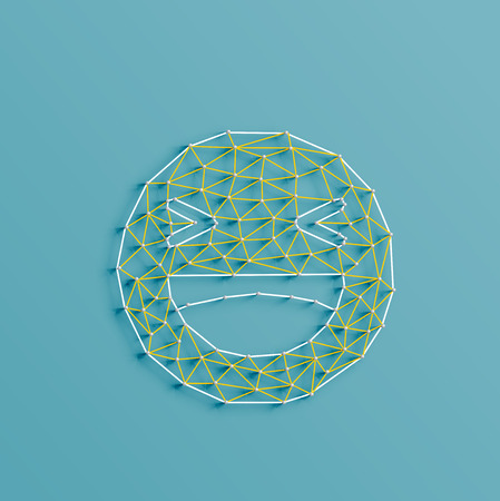 strings: Social smiley made by strings and pins, vector