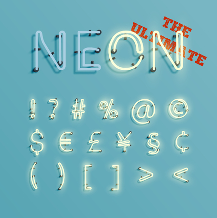 neon light: Realistic character neon typeset, vector Illustration