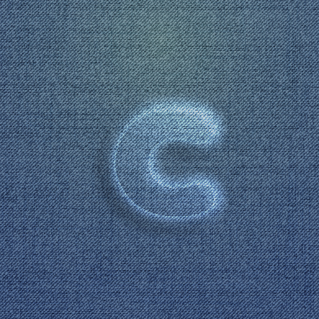Character made by denim, from the typefaces, vector